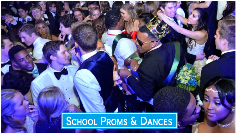 Our DJs work with your prom or homecoming planners to make sure the music creates the right atmosphere for the event. All of our team members are talented entertainers who know how to interact with crowds. We are also professional to the core and will make sure that the professional DJ service meets or exceeds your expectations