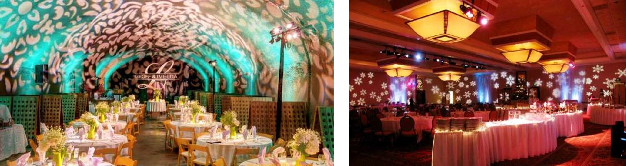 Wall Texture Lighting, Christmas Snow Flake Design, Gobo Monogram at a Houston Wedding or Houston Holiday Party, Houston Christmas Party