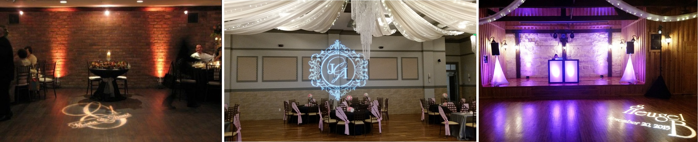 Custom Gobo Monogram, up-lighting